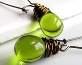 Olive Green Czech Glass Earrings, Antiqued Brass Wire Wrapped Teardrop Earrings - TheJewelryChateau