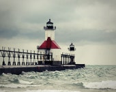 Lighthouse Photograph North Pier Lights St Joseph Michigan grey gray red clouds storm pier Lake Michigan