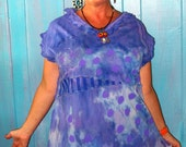 Hand Dyed Hand Painted periwinkle tunic fits medum large xl