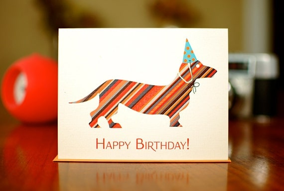 Candy Striped Doxie in Party Hat Happy Birthday Card (100% Recycled Paper)