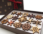 Mini Wooden Snowflake Ornament Gift Box. Rustic Handmade Designs Laser Cut from Sustainable Harvest Wisconsin woods. - TimberGreenWoods
