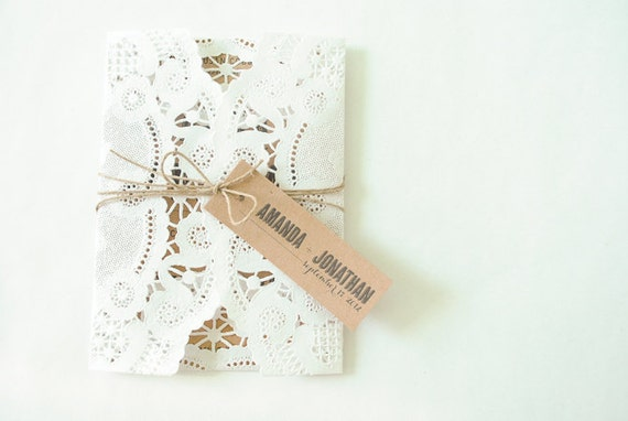 doily and kraft wedding invitation  :  no. 19