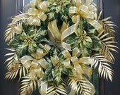 Wreaths, Christmas Wreaths For The Door, Green and Gold, Elegant Christmas Wreath, Holiday Wreath Decoration - LuxeWreaths
