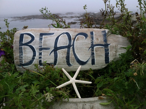 Small Painted Driftwood Beach Sign