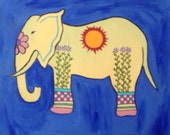 "Original Acrylic 8"" X 10"" Elephant painting"