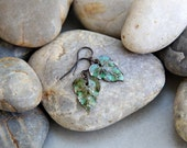 Turning a New Leaf - Green Enamel and Dark Brass Earrings - moagsandsmeet