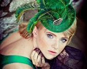 SALE Emerald Green Mini Straw Accessory Top Hat Peacock Feathers Accessories Wedding Wear Party Fascinator  Hats Steampunk - EllaGajewskaHATS