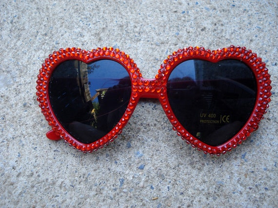 397fd07d094 Cherry Bomb- Red Heart Shaped Sunglasses With Red Rhinestones
