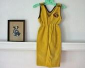 vintage boys jumpsuit - TRAIN mustard corduroy overalls / 3T - MsTips