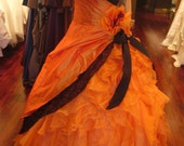 Halloween Wedding Dress in Orange and Black