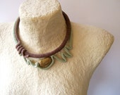 Woodland Sculptural Crochet Choker Pastel Green and Brown Art to Wear - vanessahandmade