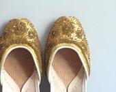 vintage handmade sparkly ballet flats - size 6 - wretchedshekels