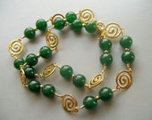 Green Jade and Gold Swirls Necklace - 18 inches - BejeweledLady