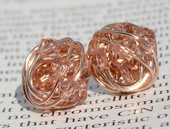 Vintage Rose Crystal- Rose Gold Series- vintage rose Swarovski crystal beads and Rose gold Wire Wrapped Stud Earrings