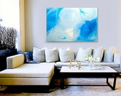 SKYDANCE original abstract modern painting - gallery fine art - contemporary interior design - ooak home wall decor - blue green - linneaheideart