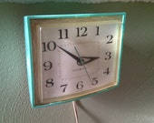 Vintage Wall Clock Turquoise Blue GE Kitchen Clock Retro Funk Kitsch - JuneyWCleaver