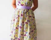 Bridesmaid dress - Vintage inspired dress, Yellow and purple flowers on beige - Mokkafiveoclock