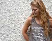 Tank Top - Light Brown with White Triangle Pattern - littleminnowdesigns
