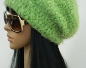 Slouchy Beanie Tams Beret Winter Hat Beanies Earwarmers For Teens Women  In Lemon Lime