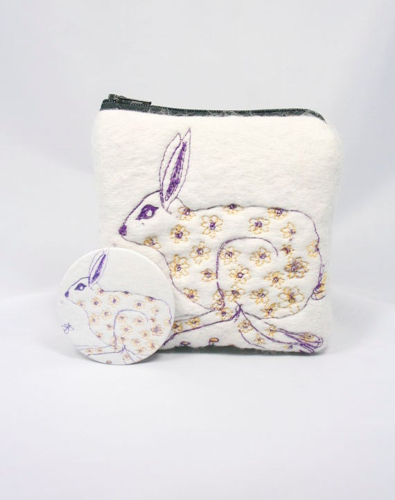 Embroidered Running Hare Felted Change Purse with Mirror