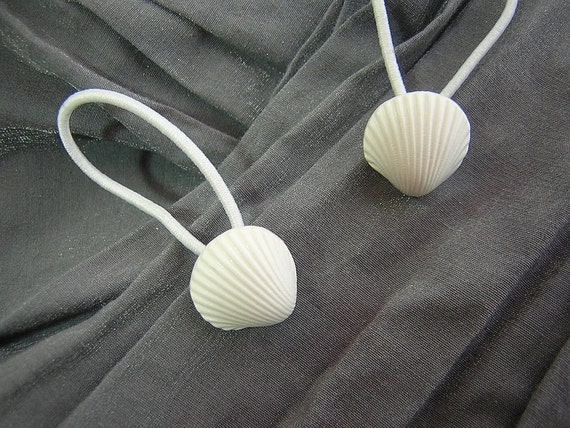 White Shell Hair Elastics Ponytail Holders - Handmade by Rewondered D202E-00005 - $6.95