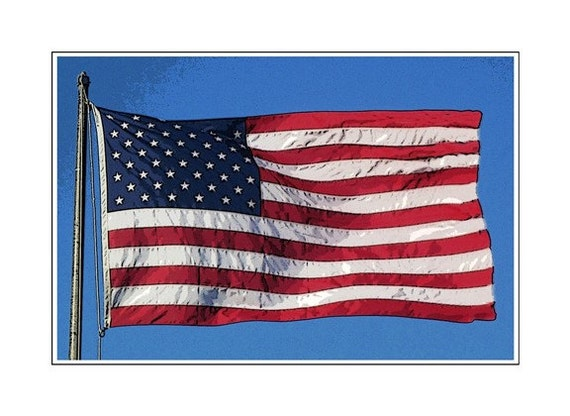 Old Glory, America, Flag Day, 12 x 8, You're A Grand Old Flag,  A High Flying Flag, Honor Old Glory With A  Bold New Modern Graphic Image