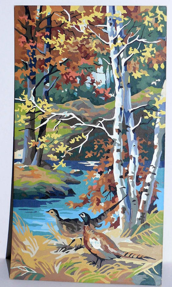 PBN Pheasants and Birch Trees Paint By Number Kit Painting Kitsch Vintage Collectible