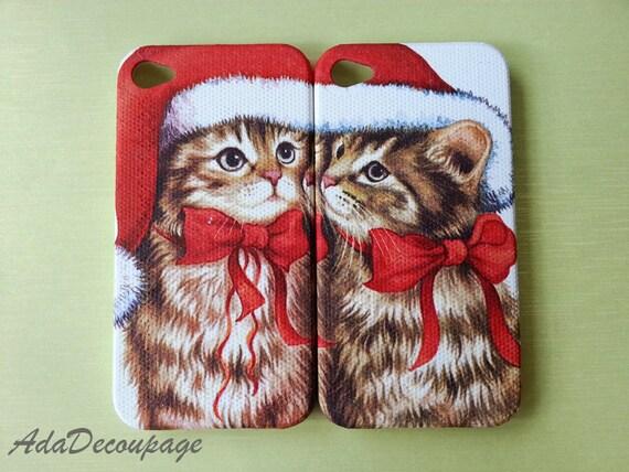 Cute Twin Santa Cat - iPhone 4 Case , iPhone 4s Case , iPhone 3g , 3gs , iPhone 5 Case , Samsung Galaxy S3 , iPhone Case