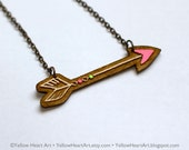 Neon Pink and Neon Green Arrow Wood Necklace Original Artwork by Yellow Heart Art