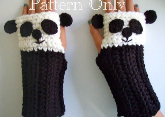 Crochet Fingerless Panda Gloves Pattern PDF