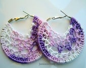 Variegated purple Crochet Hoop earrings-2 inch small