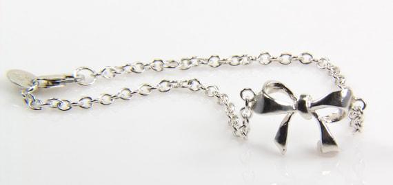 Silver Bow Bracelet - Sterling Silver Bow Bracelet - Bow Jewelry
