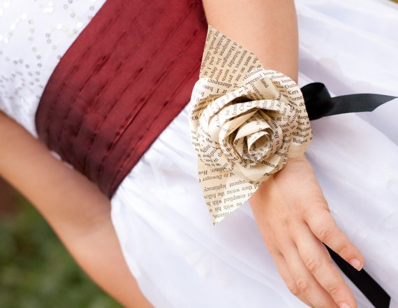 Book Page Rose Wrist Corsage/  Hair Accessory/ Necklace/ Decoration