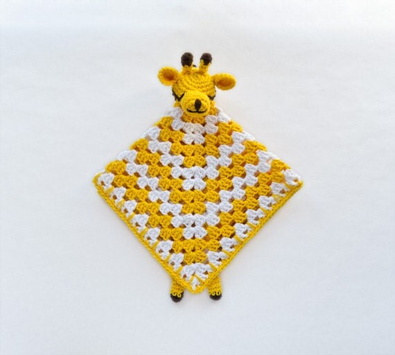 Instant Download - PDF Crochet Pattern - Giraffe Security Blanket (Level Easy) - Text instructions and SYMBOL CHART instructions