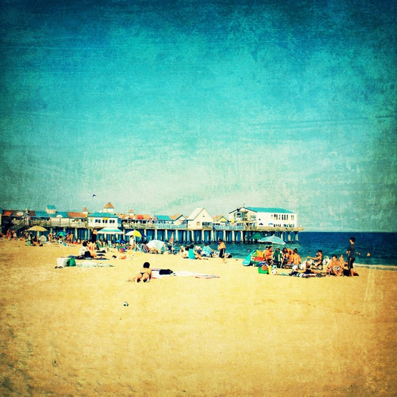 Beach art, beach photography, beach photo, Old Orchard Beach, Maine, summer, boardwalk, ocean - Old Orchard Beach, 12x12 photograph