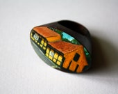 Traditional Yellow Danish Houses of Gudhjem painted on an oval curved top wooden ring - rosemillerart