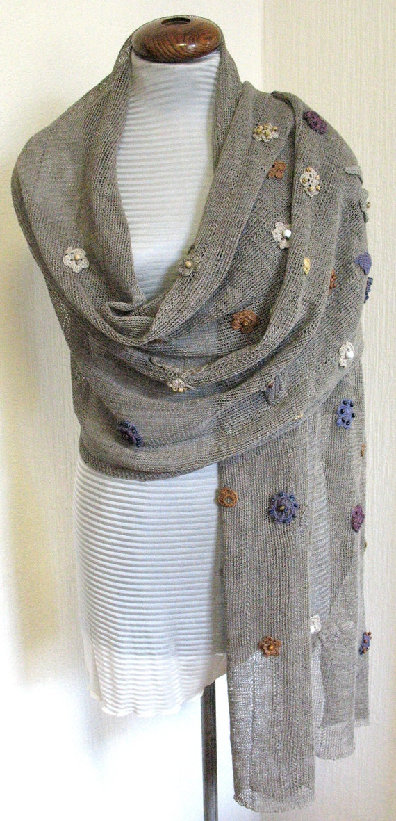 Linen Natural Grey Scarf Shawl Wrap Stole , Light, Transparent and Crocheted Flower