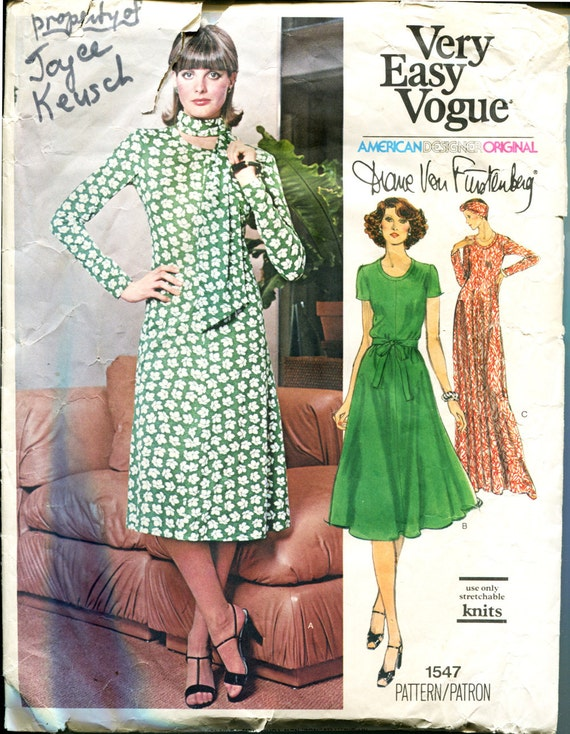 Vogue 1547 1970s Diane von Furstenberg Dress Vintage Sewing Pattern 34 Bust