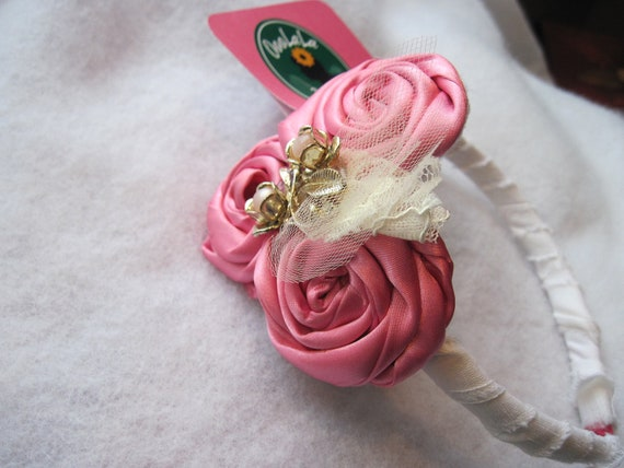 Pink Rosette Headband with Genuine Antique Pin