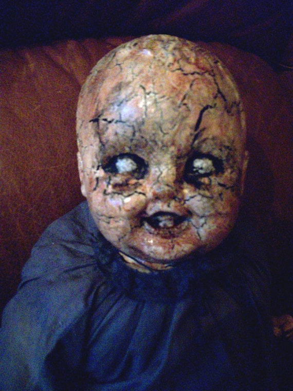 Vintage Haunted Creepy Dark Spooky OOAK Altered Art Prop Doll Halloween Freak Scary