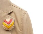 Chevron brooch medallion with orange and mustard - WillowandQuail