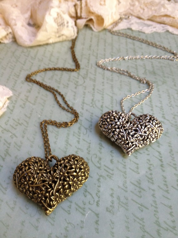 Floral Filigree Heart Pendant Necklace - Antique Brass/Silver - Choose Your Length