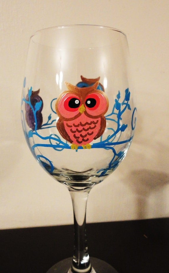 Whimsical Owl Wine Glass