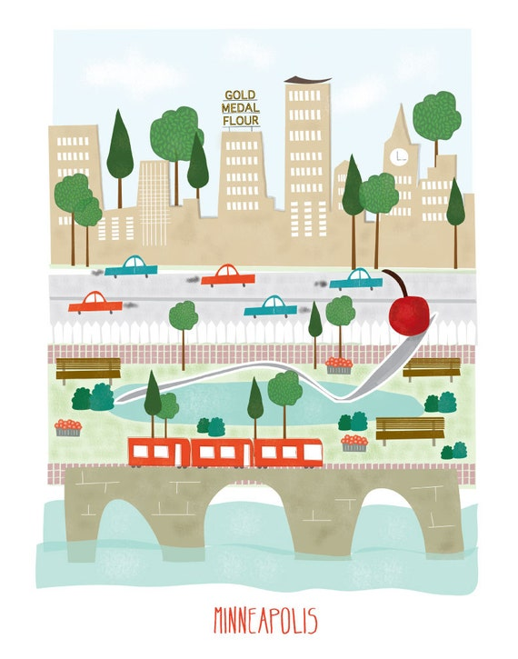 Minneapolis - 11x14 print - city illustration poster wall decor children nursery art