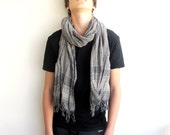 Men Scarf Gray Natural Linen Cotton Gray Wrap,Shawl,Neckwarmer,Light Scarf,Wrap , Fall Fashion Accessory - ScarfLovers
