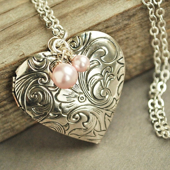 Silver Locket Necklace, Heart Locket, Victorian Locket Necklace, Pink Pearl Bridesmaid Necklace