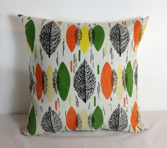 mid century mod fabric pillow on Etsy