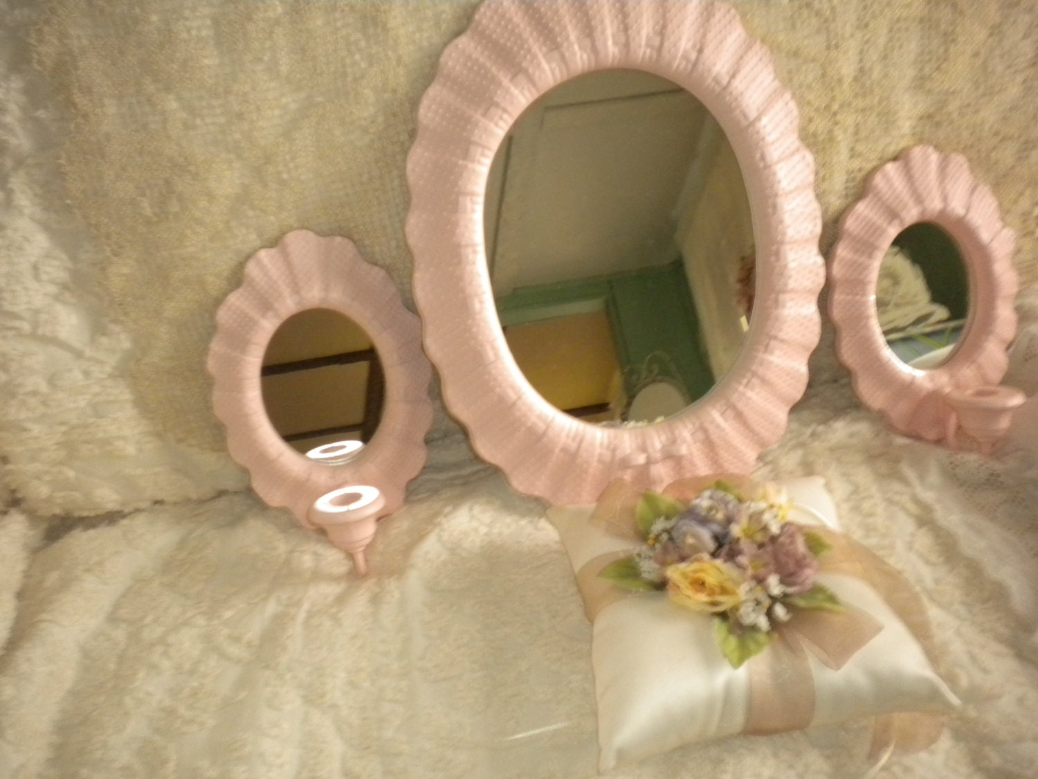 SALELovely 3 piece Mirror Sconce SetShabby by HitOrMissTreasures