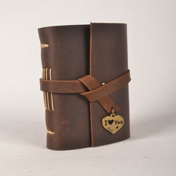 Leather journal handmade,blank notebook,unique vintage journal,travel diary,mini journal with heart,I love you,dark brown,unique gift