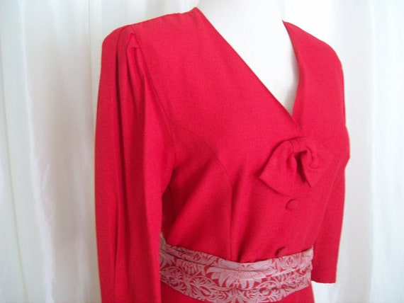 Vintage 80s red dress L XL chemise ruffle Kwai